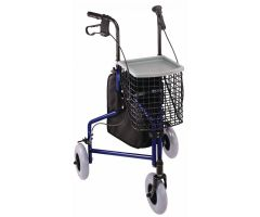 3 Wheel Steel Rollator - Blue