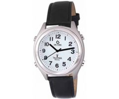 Atomic Talking Watch Male Voice Black Hands-LEATHER