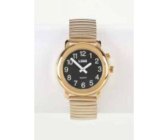 Talking Watch 1-Button Black Face - Gold Exp Band - Mens