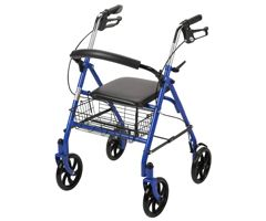 Drive Four Wheel Rollator w/ Fold Up Removable Back-Blue