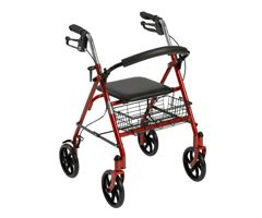 Drive Four Wheel Rollator w/ Fold Up Removable Back-Red