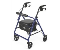 Rollator 4-Wheel Blue w/Padded Seat Blue -Medline
