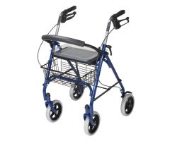 "4 Wheel Steel Rollator w/8"" Casters & Basket- Loop-Blue"