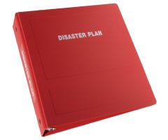 "Disaster Plan Imprinted Ringbinder - 2-1/2"" Side Open 3-Ring, Red"