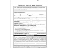 Authorization to Release Patient Info 2-Part Form