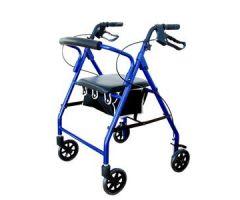 Cardinal Health Contoured-Back Soft Seat Rollator, Blue