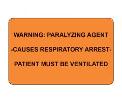 Warning Paralyzing Agent Labels - 1,000 per package