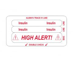 IV Line Tracing Piggyback Labels, Insulin