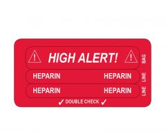 IV Line Tracing Piggyback Labels, Heparin