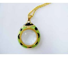 "3X Ladybug Pendant Magnifier - Green - 28"" Goldtone Chain"