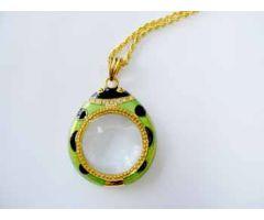 "3X Ladybug Pendant Magnifier - Green - 28"" Goldtone Chain"