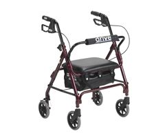 Drive Medical Junior Rollator w/ Padded Seat-Red