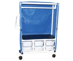 1-shelf linen hanging cart with 6 slide out tubs on bottom row with mesh or solid vinyl