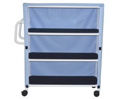 3-shelf jumbo linen cart with mesh or solid vinyl cover casters