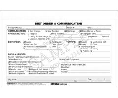 Diet and Order Communication 2-Part Form