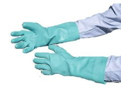 Chemical Protection Glove Sol-Vex Size 8 Flock Lined Green 13 Inch Straight Cuff NonSterile