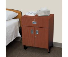 Mobile Locking Bedside Cabinet, Double Door - 5137CW