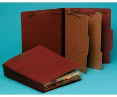 Top-Tab Pressboard Classification Folder - 2 Dividers, Brown
