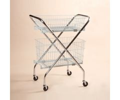 "Folding Wire Cart with 6"" and 12"" Baskets"
