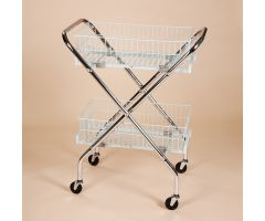 "Folding Wire Cart with 6"" Baskets"