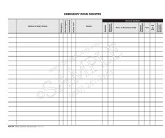 Emergency Room Register Sheet