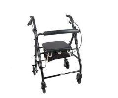 Cardinal Health Contoured-Back Soft Seat Rollator, Black