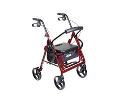 Drive Medical Duet Dual Function Transport Rollator-Burgundy