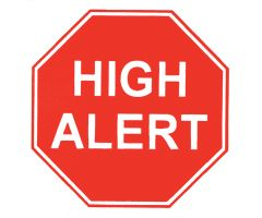 "High Alert Labels - 3-5/8""W x 3""H"