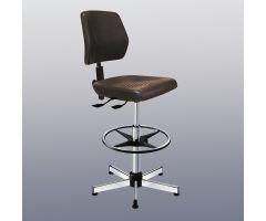 Kango High Polyurethane Seat Chair w / Tilt and Footrest, Black