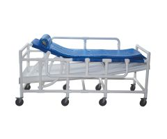 Bariatric shower gurney with three position elevating headrest, close cell water proof foam pad, drain pan & drain hose, 600 lbs weight capacity