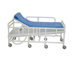 Bariatric shower gurney with three position elevating headrest, close cell water proof foam pad, drain pan & drain hose, 900 lbs weight capacity