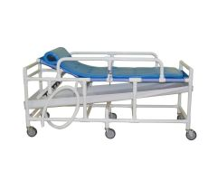 Shower gurney with High Density Polyethylene bed surface