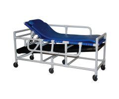 Shower gurney with High Density Polyethylene bed surface, five position elevating headrest