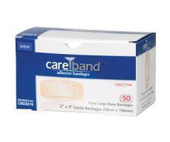 "ASO CareBand Sheer Adhesive Bandage 2"" x 4"" Sterile"