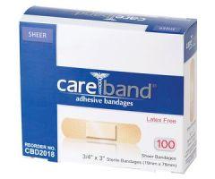 "ASO CareBand Sheer Adhesive Bandage 3/4"" x 3"" Sterile"