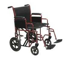 "Drive Bariatric Wheelchair w/ Swing Away Footrest-22"" Seat-Red"