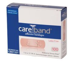 "ASO CareBand Waterproof Bandage Strip with Island Pad 1"" x 3-1/4"""