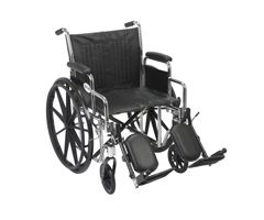 Drive Chrome Sport Wheelchair-Desk Arms & Elevate Leg Rest-16""