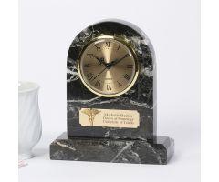 Marble Zebra Clock w/ Caduceus, Personalized