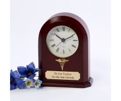 Cherry Clock w/ Caduceus, Personalized