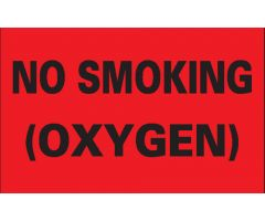 "Label - No Smoking (Oxygen) - 8"" x 5"""