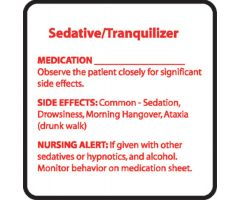 Chemical Restraint Drug Label - Sedative/Tranquilizer