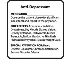 Chemical Restraint Drug Label - Anti-Depressant