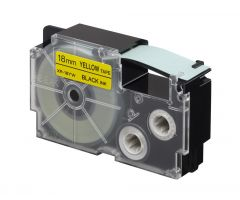Casio Label Printer Cartridge - 18MM - Black on Yellow
