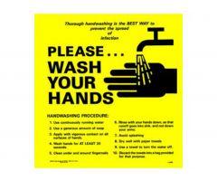 """Sign - Handwashing Reminder - Laminated - 8-1/2"""" x 8-1'2"""""""