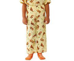 Tiger Pediatric Pajama Pants, Elastic Waist, Yellow, Size S