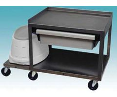 2 Shelf Stainless Cart w/ Drawer