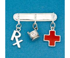 Pharmacy Charm Pin with Three Charms