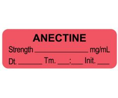 "Anesthesia Label, Anectine mg/mL Date Time Initial, 1-1/2"" x 1/2"""