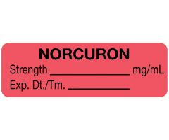 """Anesthesia Label, Norcuron mg/mL, 1-1/2"""" x 1/2"""""""